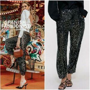 NWT Zara Mid Waist Sequin Pants 2731/268